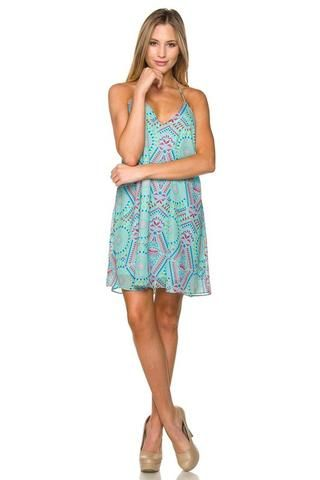9dcd8236f4ec6 Colorful printed t-back dress with adjustable straps. 100% Polyester Grab a  sticky bra from Target to wear this open back style with no worries!
