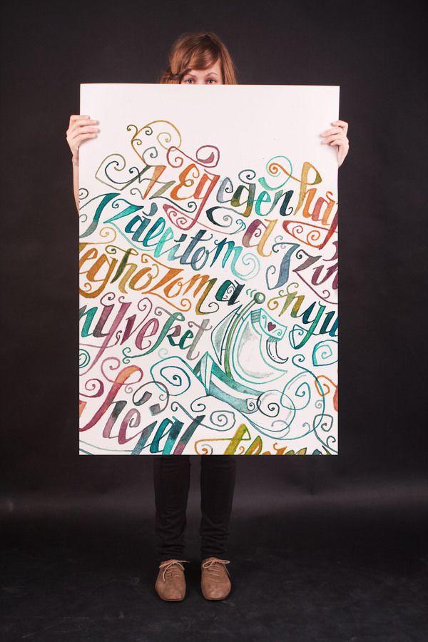 poems in calligraphy by Boglárka Nádi