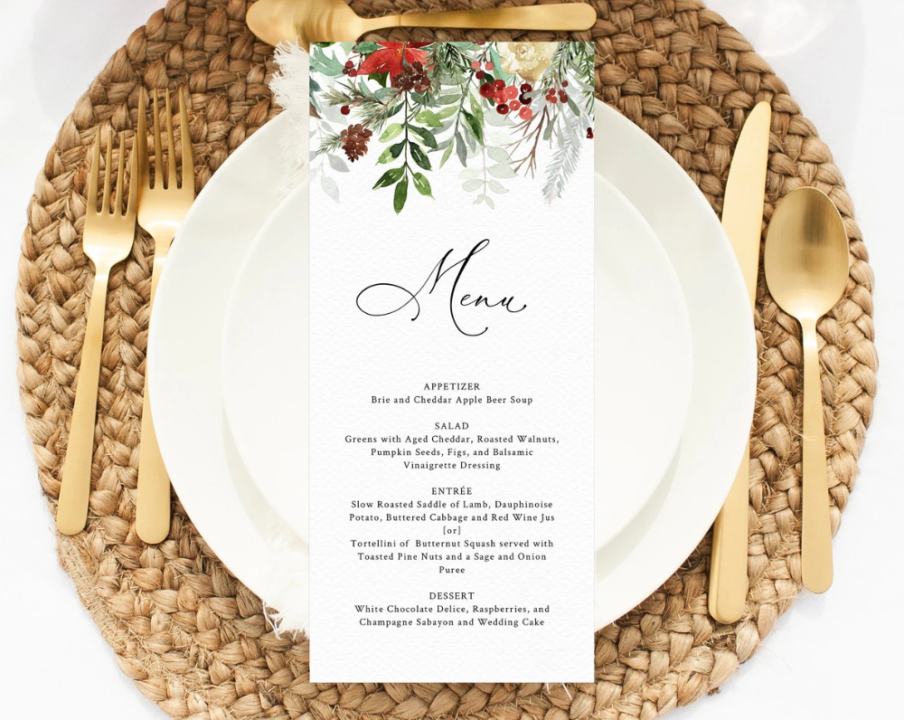 Winter Wedding Menu Template, Printable Holidays Menu, Editable Wedding Menu, Christmas Wedding Menu, DIY Wedding Menu, Templett, W46 #weddingmenutemplate