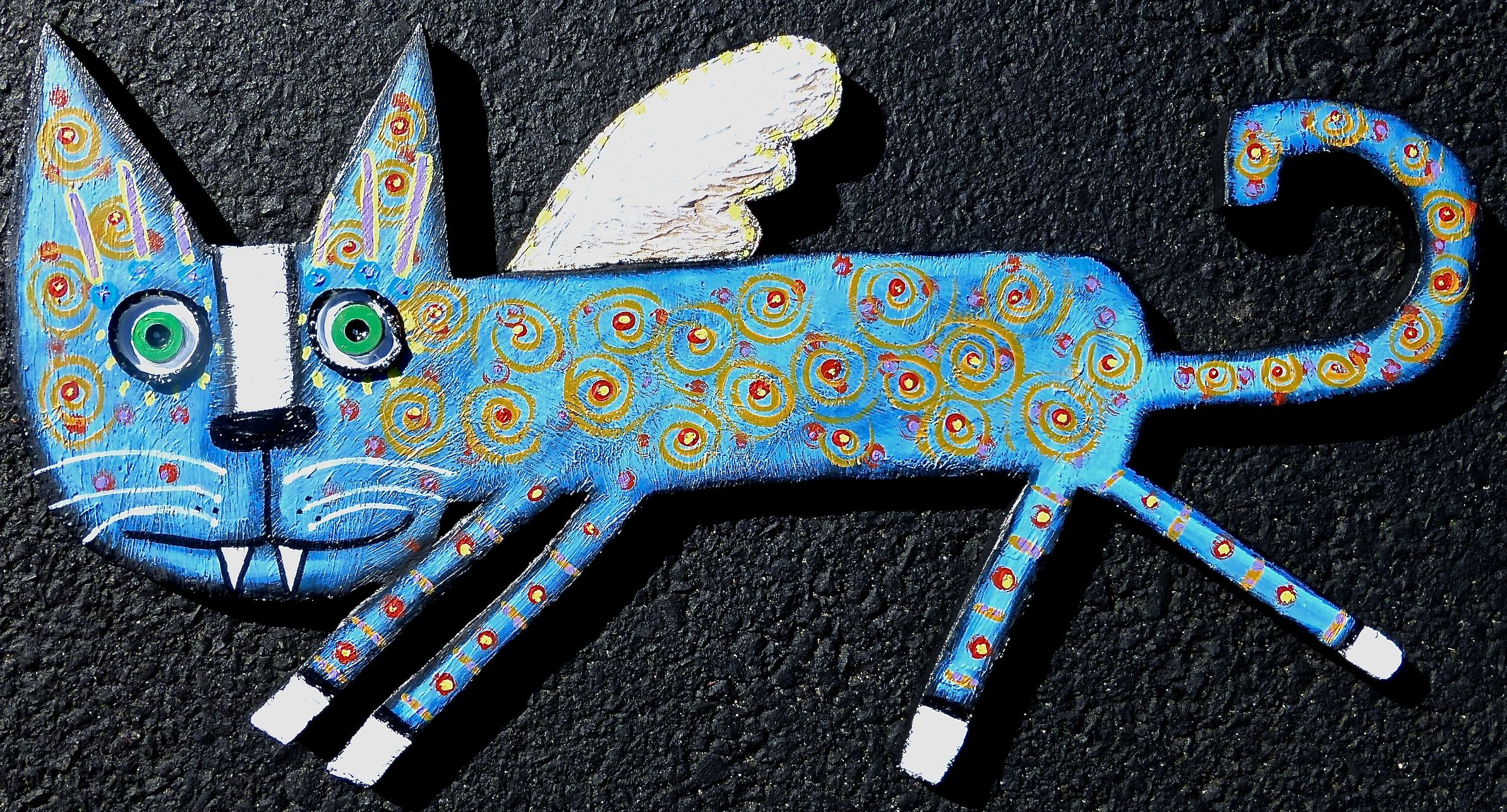 """""""Dexter The FLying Angel Kitty"""" one of a kind acrylic cutout wood cat created by artist Tracey Ann Finley #outsiderart"""