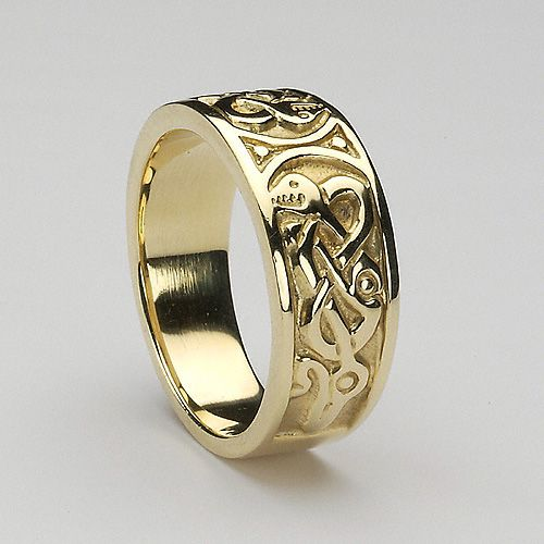 The Celtic knot is formed by a serpent entangling itself around the band; although the whole band was not covered to give room for resizing. This band is available in yellow gold, white gold, and silver and in sizes ranging from 4 to 13.5.
