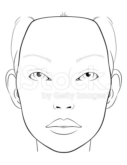 Blank Face Chart for Makeup Artists royalty-free stock