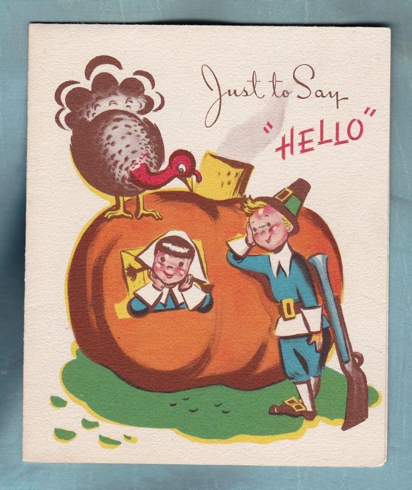 Cute Vintage Happy Thanksgiving Card from Buzza Cardozo ...