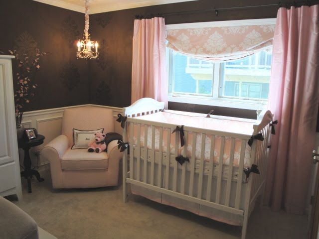 Nursery. This curtain extending past the window frame makes the room look much more sophisticated. Plus the fabric covering the cord for the light. I love this!