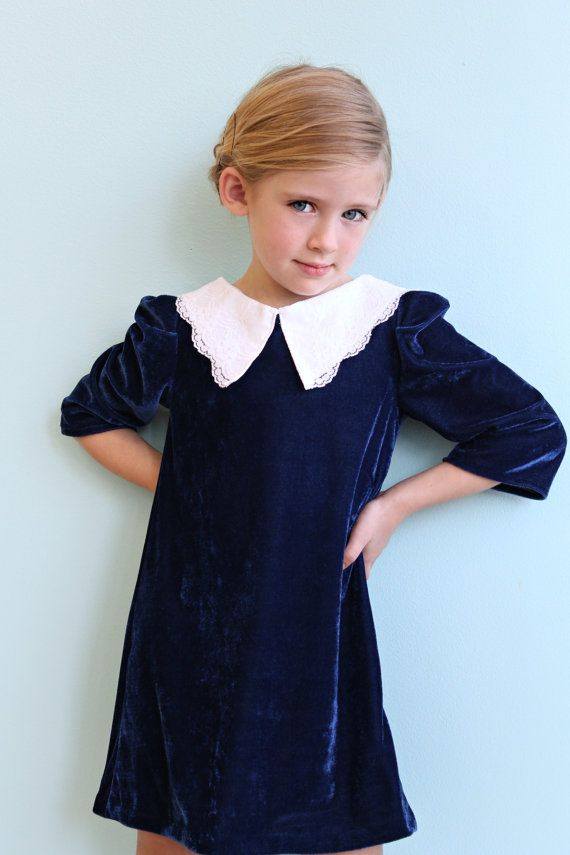 36bd58403098 Girls Velvet Holiday dress with white lace collar.  58.00