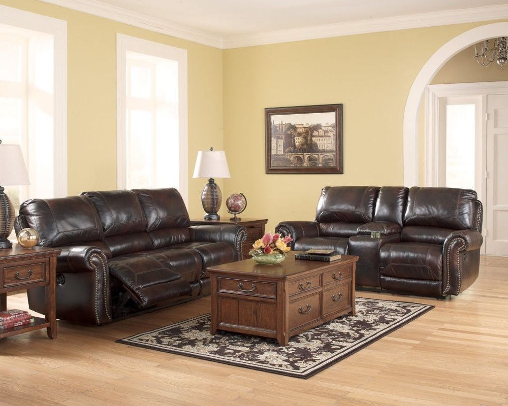 New Ashley Dexpen Saddle Genuine Leather Eleagant Reclining Sofa