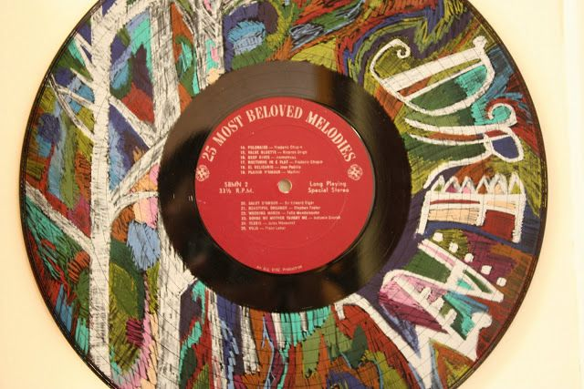 colored pencil on vinyl record album...but I am a little conflicted about hurting a vinyl record album!