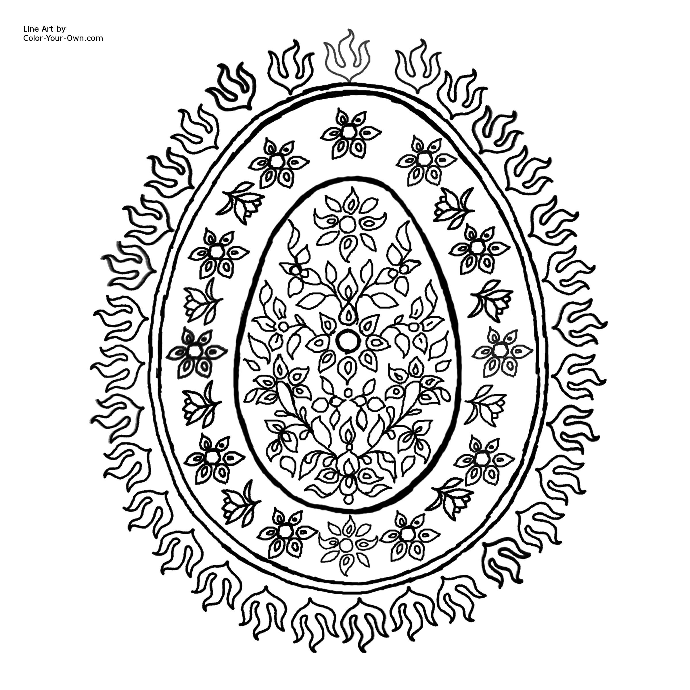 Pattern Coloring Pages | Decorative Egg Pattern with Flowers ...