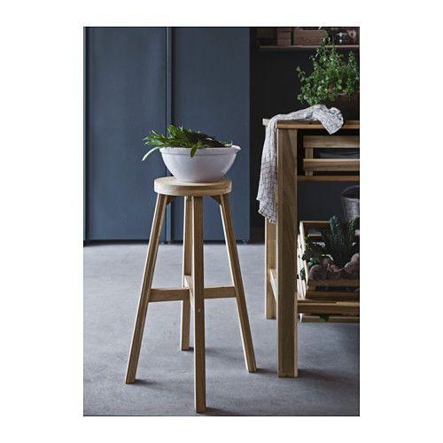 skogsta bar stool, acacia   stains, bar and foot rest