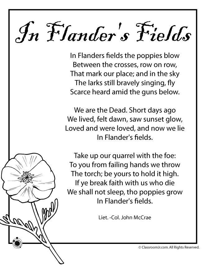 Poem Httpclassroomjrmemorial Day Worksheetsin Flanders