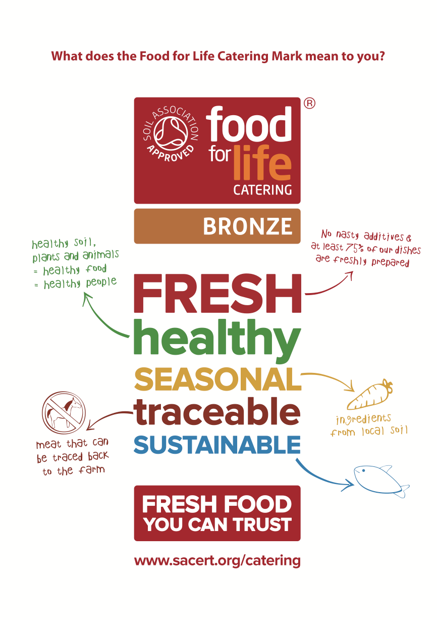 HCL is proud to announce that we have been awarded the Bronze Food for Life accreditation which recognises all the work we do in ensuring that we offer dishes that use local, seasonal, organic and fresh produce whilst at the same time using high welfare meat and sustainable fish.