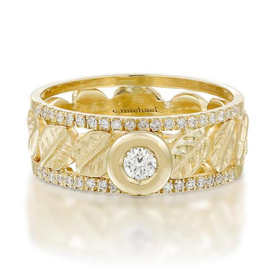 14k Yellow Gold Ring Engagement Ring Diamond Ring Leaves Shaped