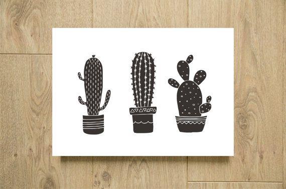 Affiche Cactus Noir Et Blanc A Imprimer Illustration Par Godiche