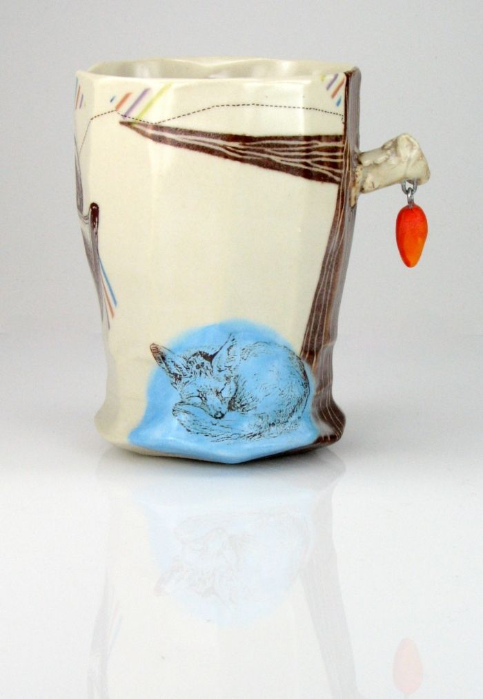 Grace Sheese-porcelain, decals and wire fired to cone 6, 03 and 016