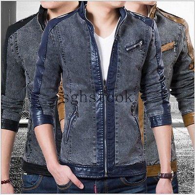 Men's Desfiado lavado Jeans Emenda Slim Fit, zíper Moto Jaqueta De Motoqueiro Coat Tamanho