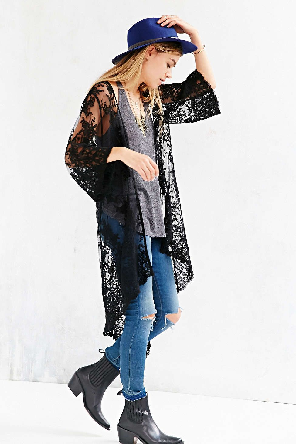 Kimchi Blue Lace Overlay Cardigan Sweater | Bohemian blouses ...