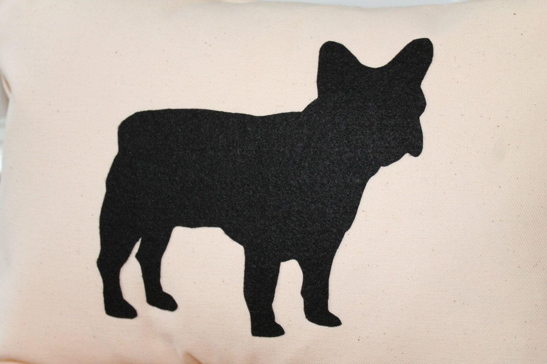 French Bulldog Black Felt Silhouette Pillow by