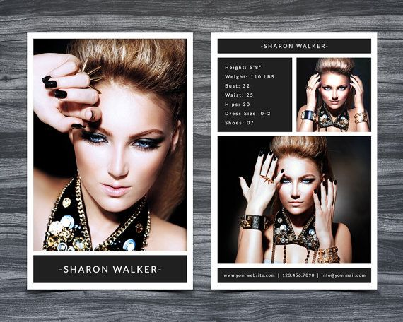 Model Comp Card Template For Photoshop 001 5 5 X Etsy Model Comp Card Card Templates Free Card Template