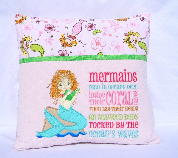 Mermaid Reading Pillow Pocket Book Gift For Readers Travel Birthday