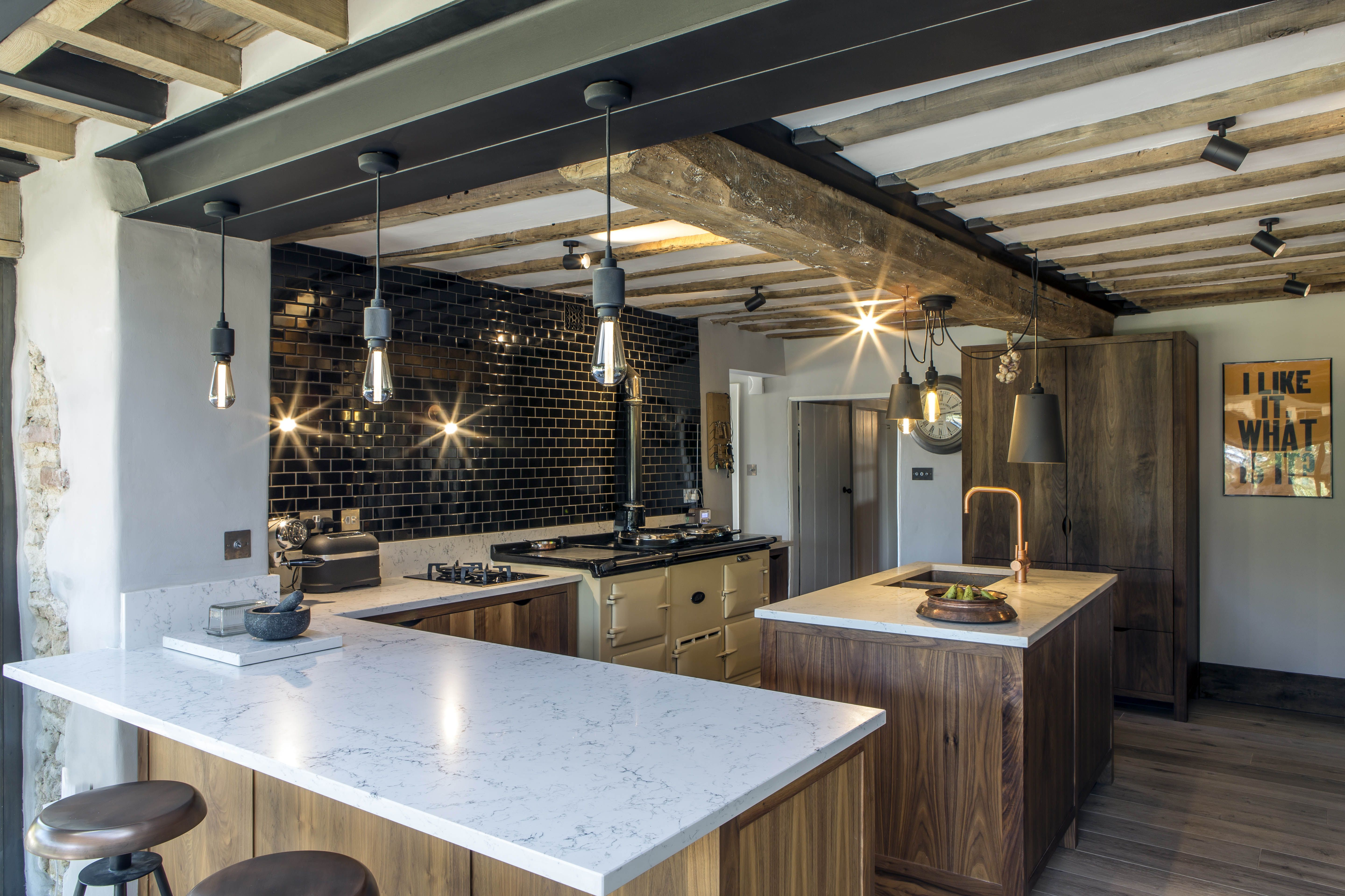 Country Living Modern Rustic Style Kitchen And Open Plan Dining Room Buster And Punch Lighting And Bespoke Walnut Kitchen With Cuisines Maison Maison Cuisine