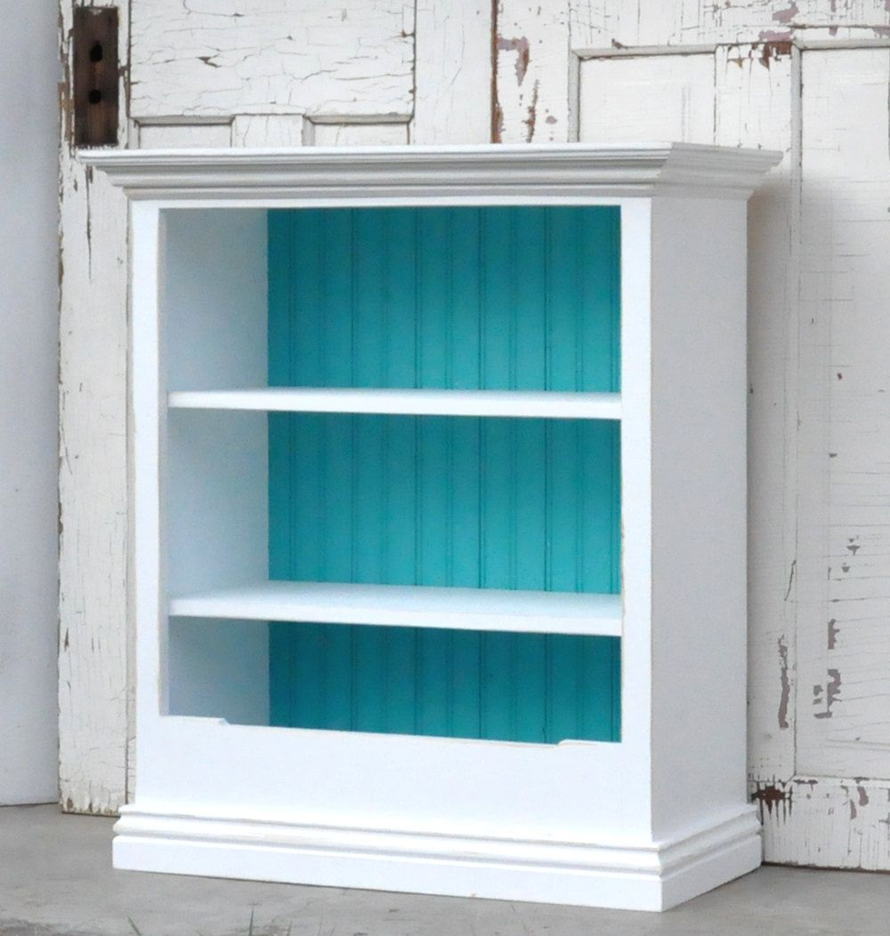 Children's Bookcase with Bin in Distressed White and Teal. - Distressed White Bookcase With Bin. $200.00, Via Etsy. Nursery