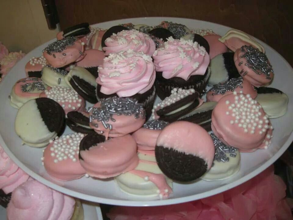 Pink And Silver Baby Shower Chocolate Covered Oreos Kid Party