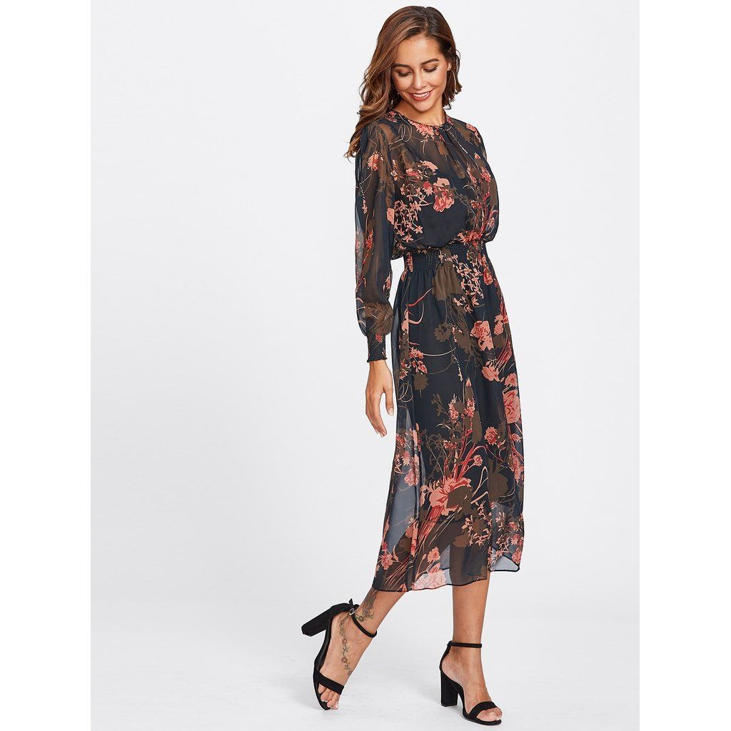21b8474f2f438 Color: Multicolor Style: Vacation Material: Polyester Neckline: Round Neck  Sleeve Length: Long Sleeve Silhouette: Fit and Flare Dresses Length: Long  ...