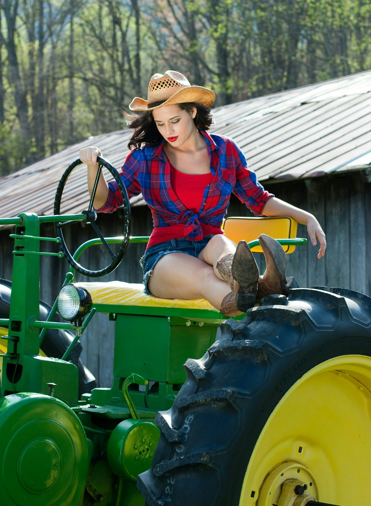 pictures of girls on tractors