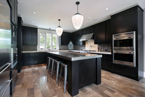 Top 50 Best Black Kitchen Cabinet Ideas Dark Cabinetry Designs Luxury Kitchen Design Espresso Kitchen Cabinets Minimalist Kitchen Design