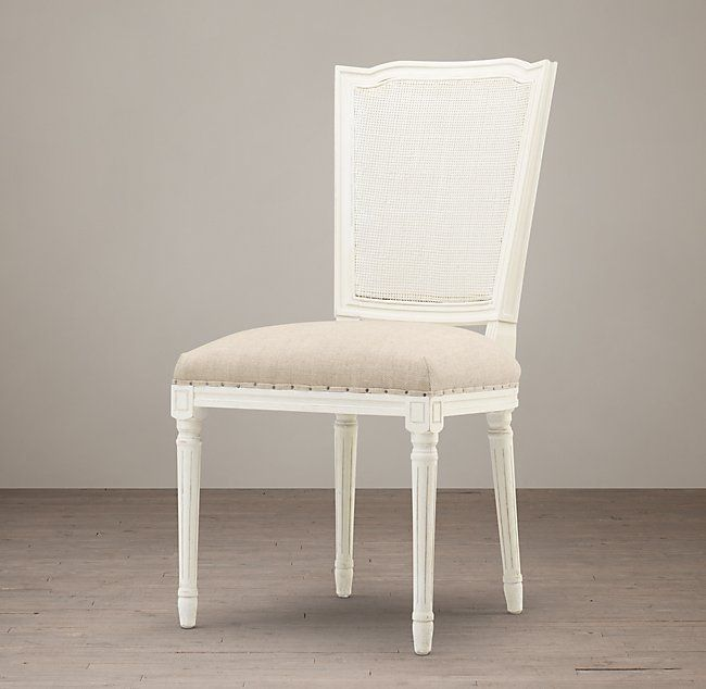 Vintage French Nailhead Cane Back Fabric Side Chair