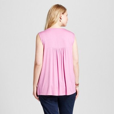 Women's Plus Size Embroidered Sleeveless Blouse - U-Knit - Pink 2X