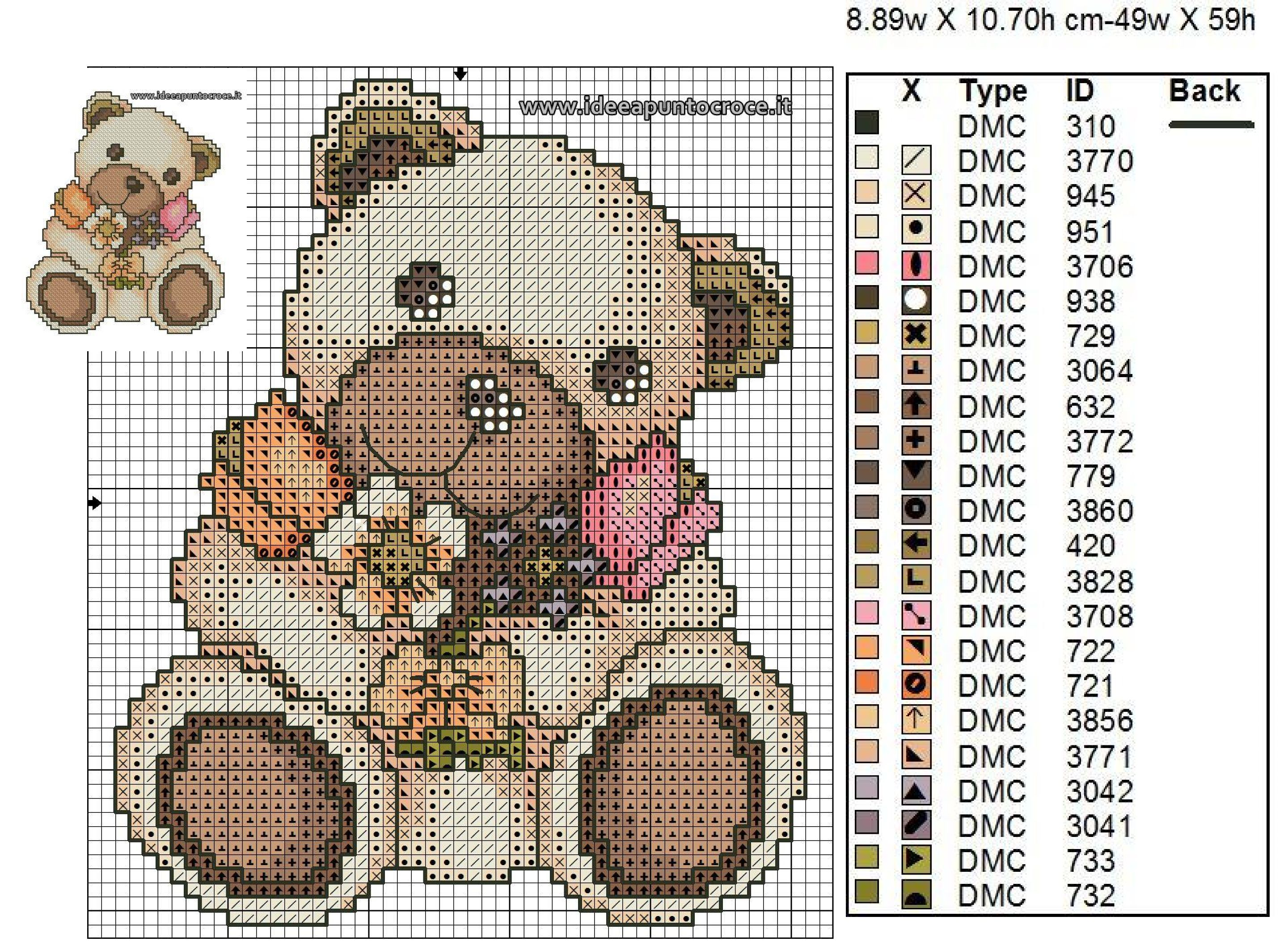 Teddy thun schema punto croce cross stitch mini cross for Schema punto croce orsetto