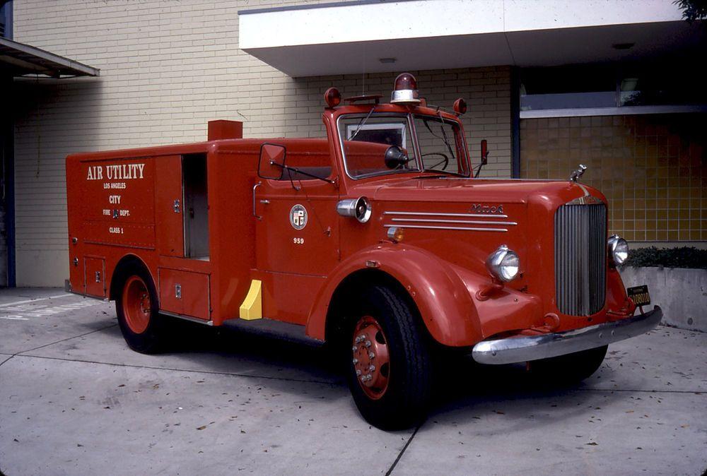 1948 Mack Truck : Fire truck slide lafd mack air trucks