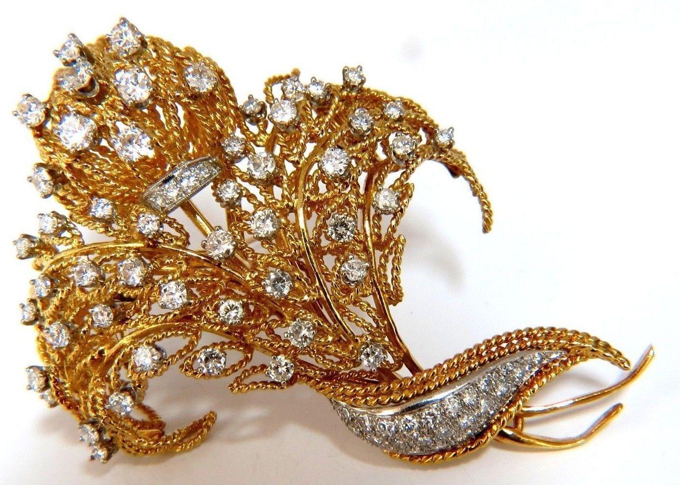 10.00ct DIAMONDS RAISED ROPE TWIST 3D DECO BUNDLE FORM PIN BROOCH 18K
