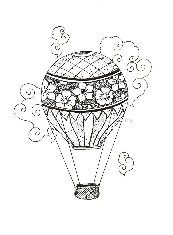 Dessins montgolfiere old school en dotwork 8696425 - Dessin montgolfiere ...