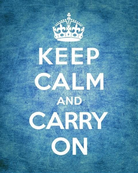Keep Calm And Carry On - Vintage Blue by The British Ministry Of Information