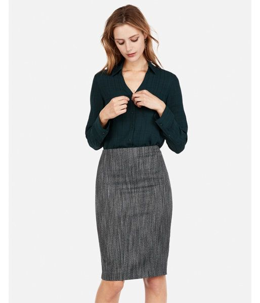 Photo of High Waisted Marled Tweed Clean Pencil Skirt