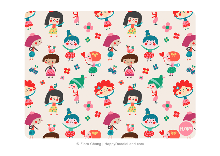 Doodle Girls Pattern © Flora Chang | Happy Doodle Land.png
