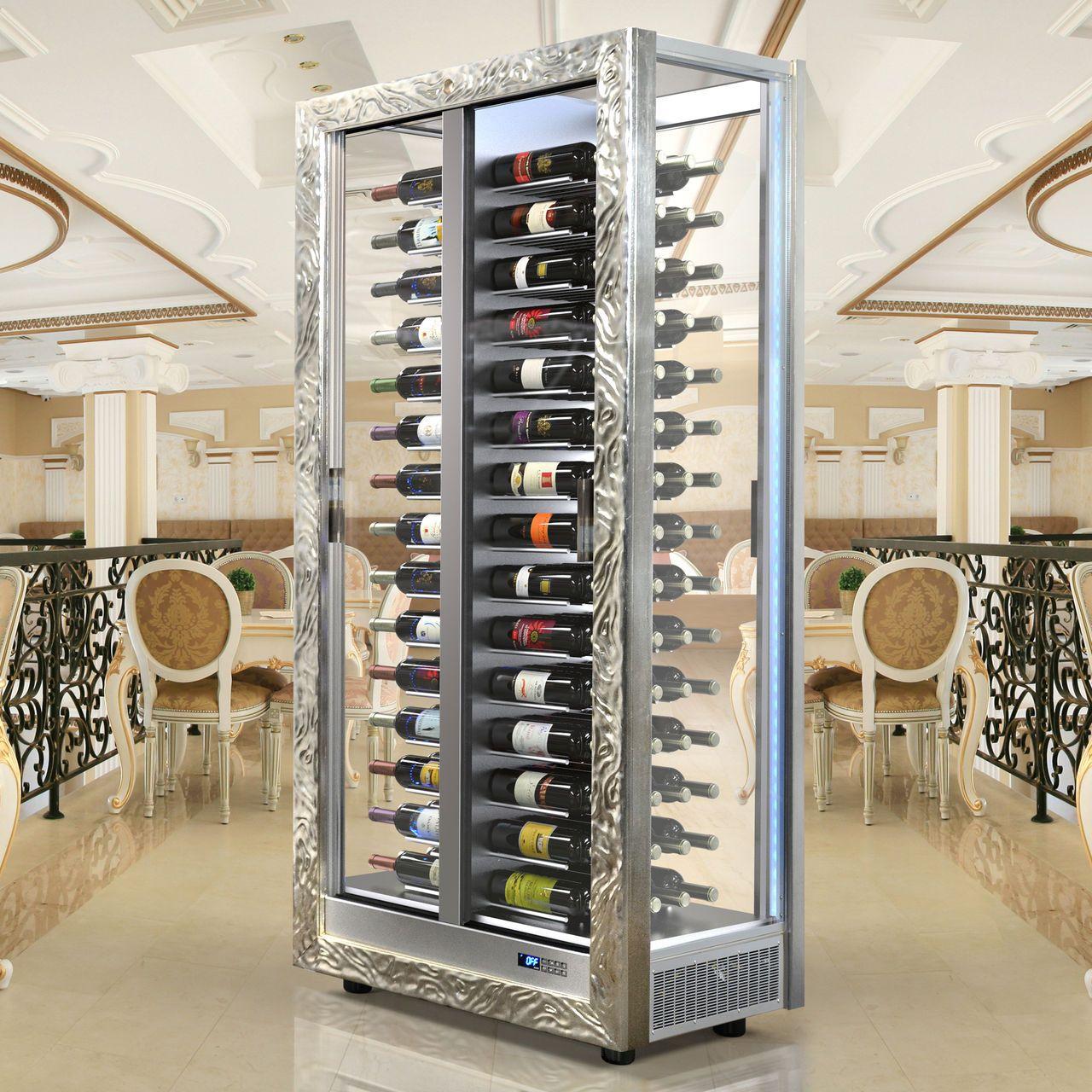 Weinkühlschrank TECA VINO, waagerechte Lagerung, silber ...