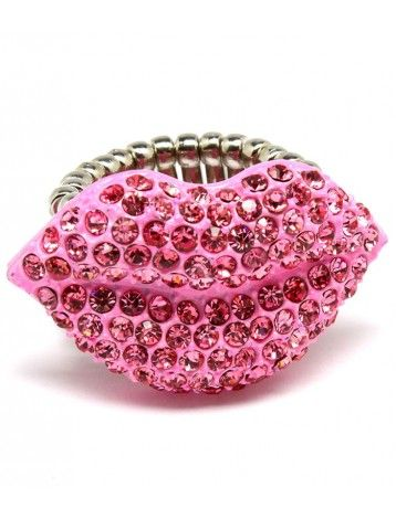 PINK TONE CRYSTAL LIPS KISS LADIES FASHION STRETCH RING - Silver Rings - Rings - Jewellery