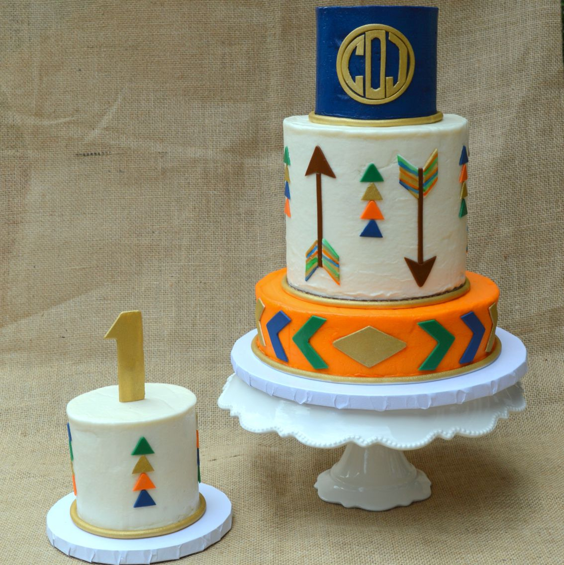 Monogram Tribal Arrow Cake And Smash Cake Berean Bakes - Monogram birthday cakes