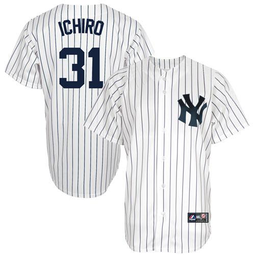Ichiro Suzuki New York Yankees 31 Majestic Replica Jersey White New York Yankees Apparel New York Yankees Yankees Outfit
