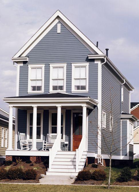 Light Gray House With Dark Gray Shutters