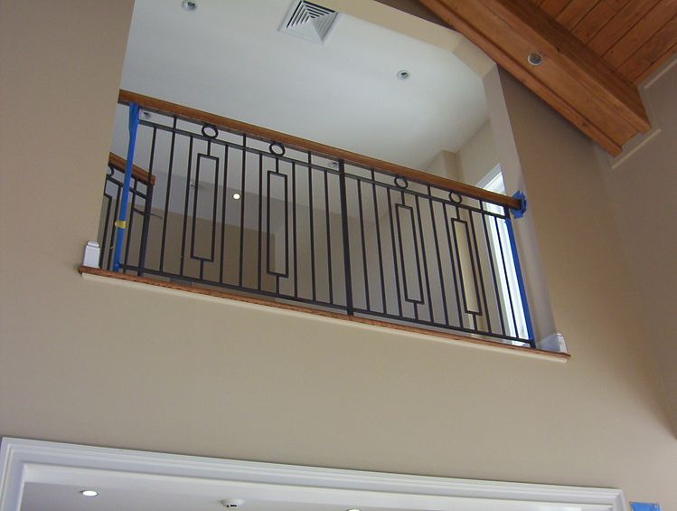 Wrought iron interior railings stairs painted designed for Inside balcony railing