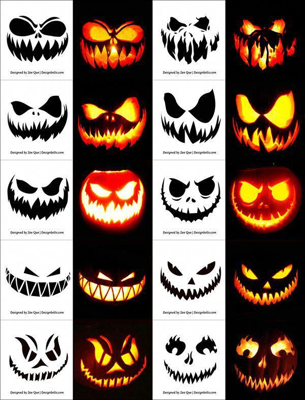 290+ Free Printable Halloween Pumpkin Carving Stencils, Patterns, Designs, Faces & Ideas #pumpkindesigns