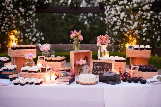 Wine boxes and wine crates make for rustic-chic cupcake displays ...