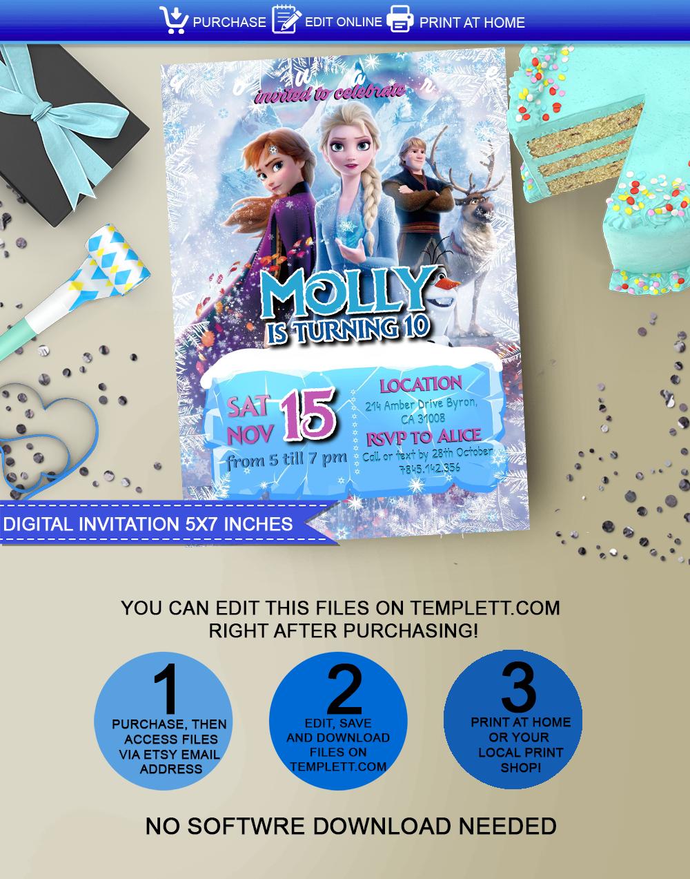 Frozen Invitation 5 7 Inches Frozen Invitations Digital Invitations Invitations
