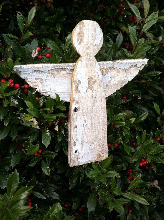 Reclaimed Barn Wood Wooden Angel Tree Topper By