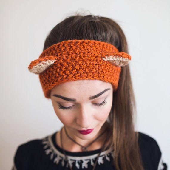 Knit Fox Ears Headband Headband with ears Knit ear warmer | crochet ...