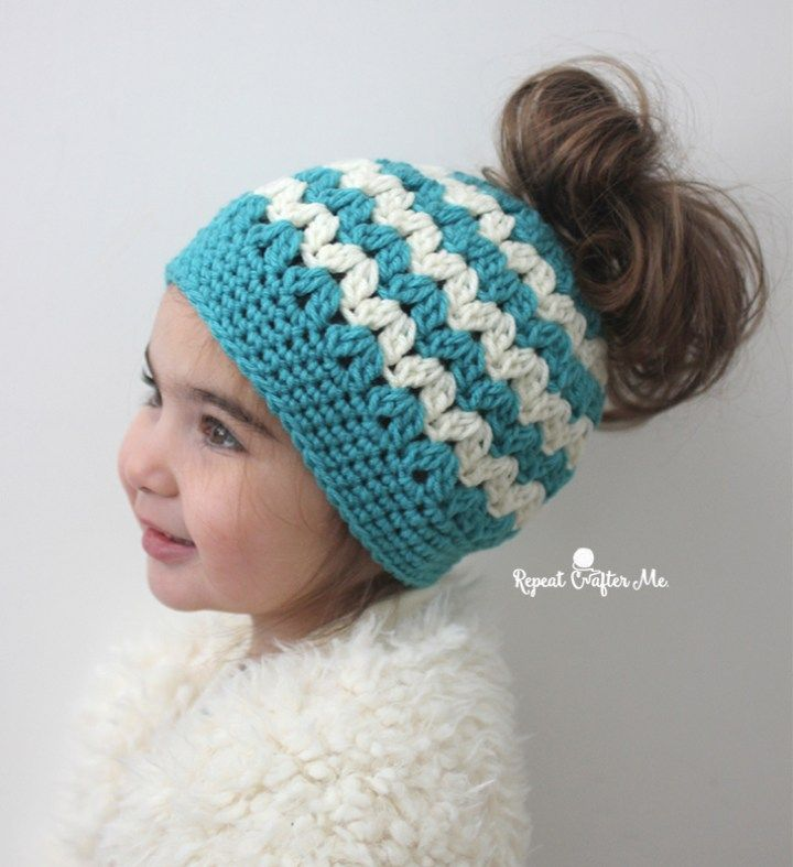 f5f8a134e4b Crochet Mommy and Me Messy Bun Hats - Repeat Crafter Me